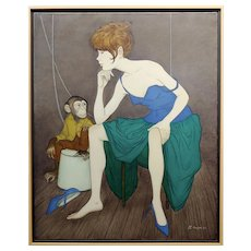 Philippe Noyer - Sexy Girl & a Monkey  - Oil Painting