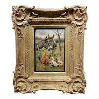 William Weekes Pair of Donkeys w/ Chickens & Ducks -19th century Oil painting