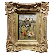 William Weekes Pair of Donkeys w/ Chickens & Ducks -19th century Oil painting
