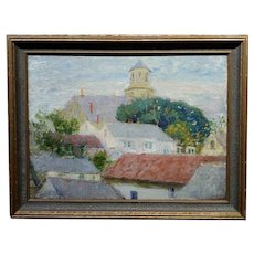 Pauline Lennards Palmer 1920s View of Roofs Tops in Provincetown,MA -Oil painting