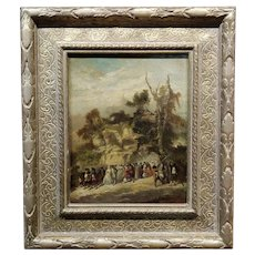 Victor Nehlig 18th century American Outdoor celebration- Oil painting