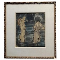 "Max Thalmann 1930s ""Naked Beauties"" bathing outdoors- Painting"