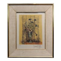 Bernard Buffet - Still Life of Flowers in a Glass -original Lithograph-Pencil Signed