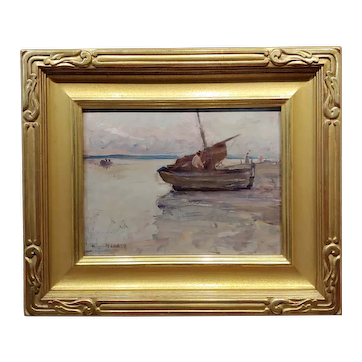 Clarence Hinkle 1932 Boats at Etoples Marina - Oil painting