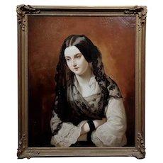 Johann Grund-19th century Portrait of a Beautiful Woman wearing a Black Lace Veil