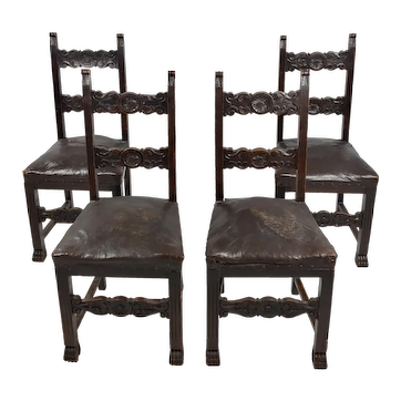 19th century Spanish Revival carved Chairs w/Leather seats-Set of 4
