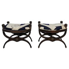 Regency Style Upholstered Curule Stools Benches - a Pair
