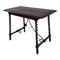 19th century Spanish Table w/Barley Twist legs and scrolled iron bars