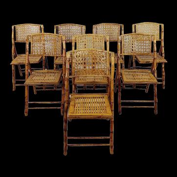 Gorgeous Vintage Bamboo & Ratan Folding Chairs -Set of 8