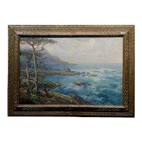 Charles Henry Harmon 1927 Big Sur stunning California Coastline-Impressionist oil painting