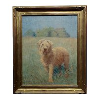 Henry Grinnell Thomson-Portrait of a Beautiful English Terrier in a landscape-Oil painting
