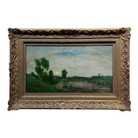 Charles Francois Daubigny - Barbizon School Sunset Landscape-19th c. Oil painting