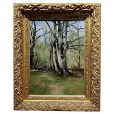 Max Weyl - Women in Forest collecting wood -19th century Oil painting