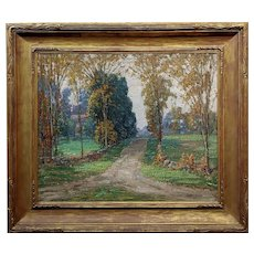 Samuel Harkness McCrea -Road to Stamford,CT Landscape -Oil painting c.1913