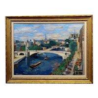 Paul Hannaux -1930s View of Paris above the Seine River-Impressionist Oil painting