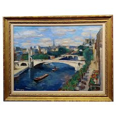 Paul Hannaux -1930s View of Paris above the Seine River-Impressionist Oil painting