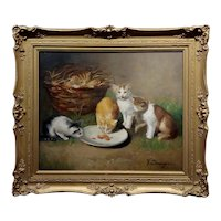 Victor Demongin -Family of Five Kittens feeding-19th century French Oil painting