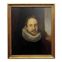 18th century Portrait of a Spanish Gentleman with a Ruff Collar-Oil painting