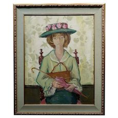 Andre Chochon -Portrait of a Big Green Eyes Girl in a Hat -Oil painting