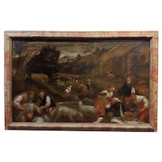 17th century Italian Old Master -Sheep Shearing -Oil painting