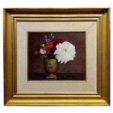 George de Forest Brush -Still Life of Flowers in a Copper Vase-Oil Painting c1920s