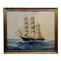 American Marine School - Sailboat at Sea -Oil painting c.1900s