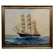 American Marine School - Sailboat at Sea -Oil painting c.1900s