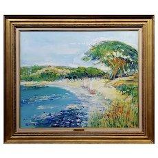 Yolande Ardissone - Beautiful Palombaggia Beach in Corsica -Oil Painting