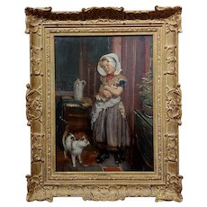 Hendrikus Matheus Horrix -Girl w/ Doll & a Cat in an Interior-19th century Oil painting
