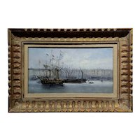 19th century Dutch school -Amsterdam Harbor Scene -Oil Painting