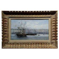 19th century Dutch school -Amsterdam Harbor Scene -Oil Painting
