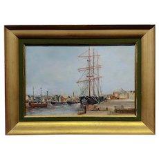George Savary Wasson 1892 New England Harbor Scene -Oil painting