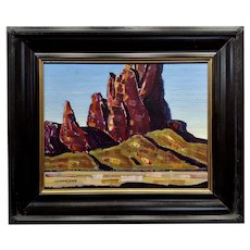 Conrad Buff - Red Mountain Landscape  - Oil painting