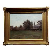 Colin Campbell Cooper -19th century country Town Landscape-Oil painting