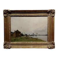 Paul Lecomte -19th century Normandy industrial Coastline w/Steam Boat -Oil painting