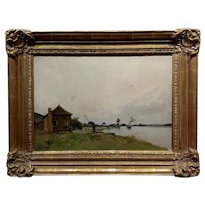 Paul Leconte -19th century Normandy industrial Coastline w/Steam Boat -Oil painting