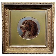 Alfred Richardson Barber - 1883 Portrait of a Spaniel -Oil Painting