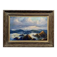 Earl Daniels - Laguna Beach beautiful Rocky costal Seascape -Oil painting