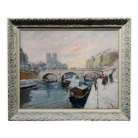 Francois Gerome - 1920s View of Notre Dame in Paris - Oil painting