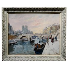 Francois Gerome - 1920s View of Notre Dame in Paris - Oil painting