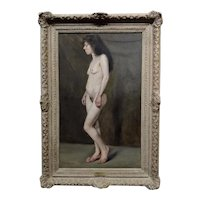 John Bond Francisco Portrait a Nude 19th century Working Woman -Oil painting