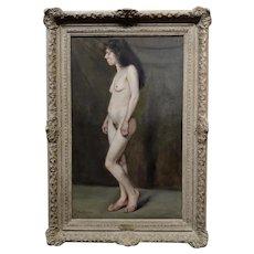 John Bond Francisco Portrait a Nude 19th century Working Woman -Oil painting
