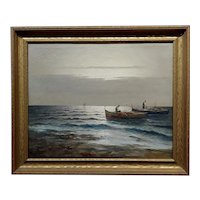 Rinaldi - Fishermen after a quite sunset Seascape - 1930s Italian Oil painting