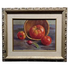 Jack Richard -Still Life of Three Tomatoes and a Radish -Oil painting