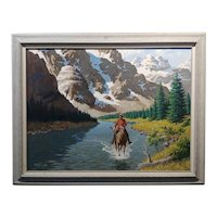 Arthur Sarnoff -Royal Guard patrolling the Rockies on Horse -Oil painting