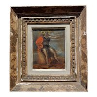 Reginald Marsh -Blonde Woman with a Red Cape on the Boardwalk -Oil painting