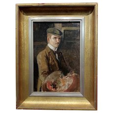 French Artist Self-portrait - 1920s Oil painting on canvas