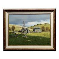 Harold Shelton -Abandon Barn in a Beautiful California Farm Landscape -Oil painting