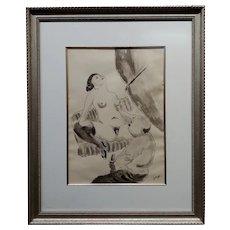George Ehrenfried Grosz -1930s Erotic Peeping Scene-Ink Drawing painting