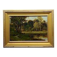 Manuel Valencia - Over a Luscious Lake California Landscape -Oil Painting c.1900s